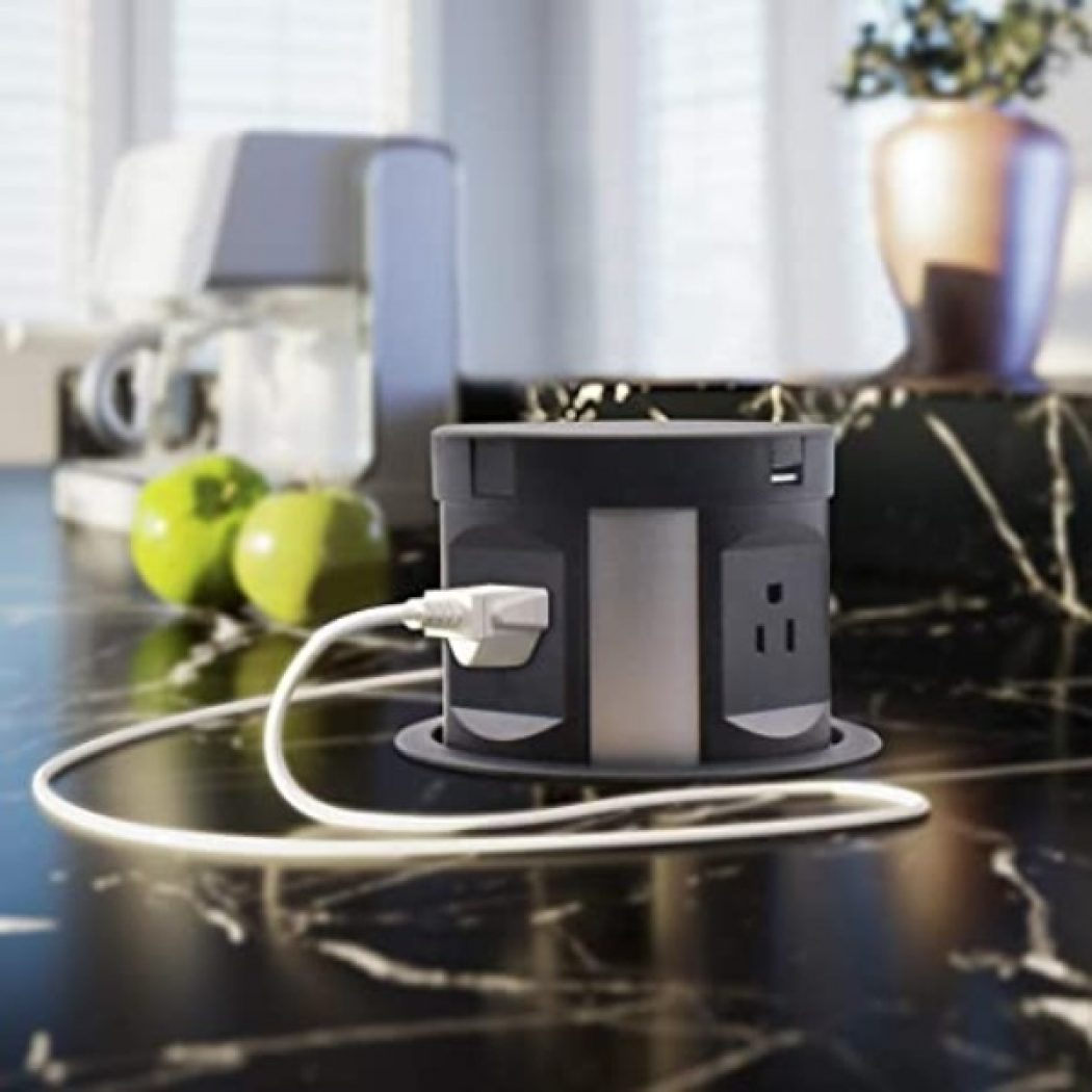 Pop Up Countertop Outlet With USB & Wireless Qi Charging Top
