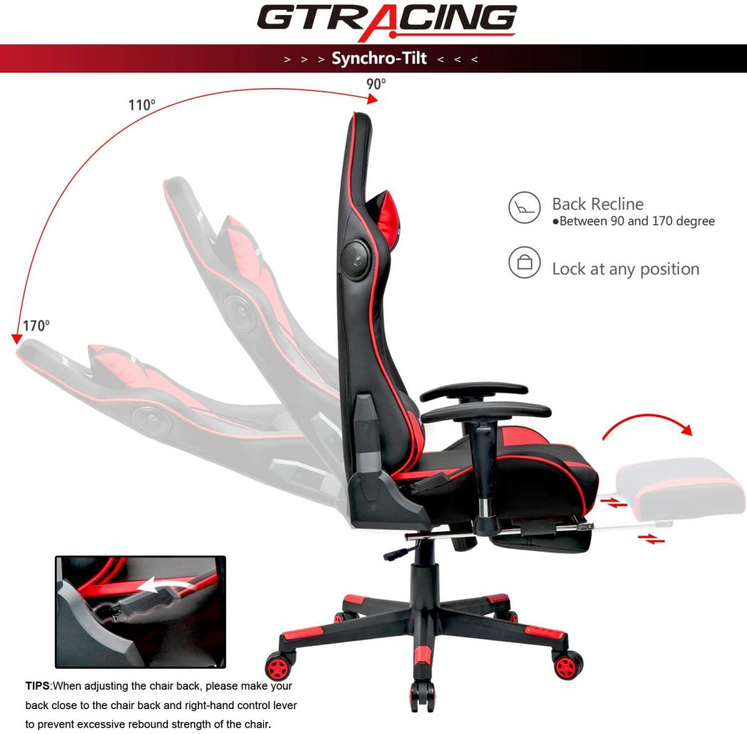 GTRacing Gaming Chair with Bluetooth Speakers And A Recliner Footrest