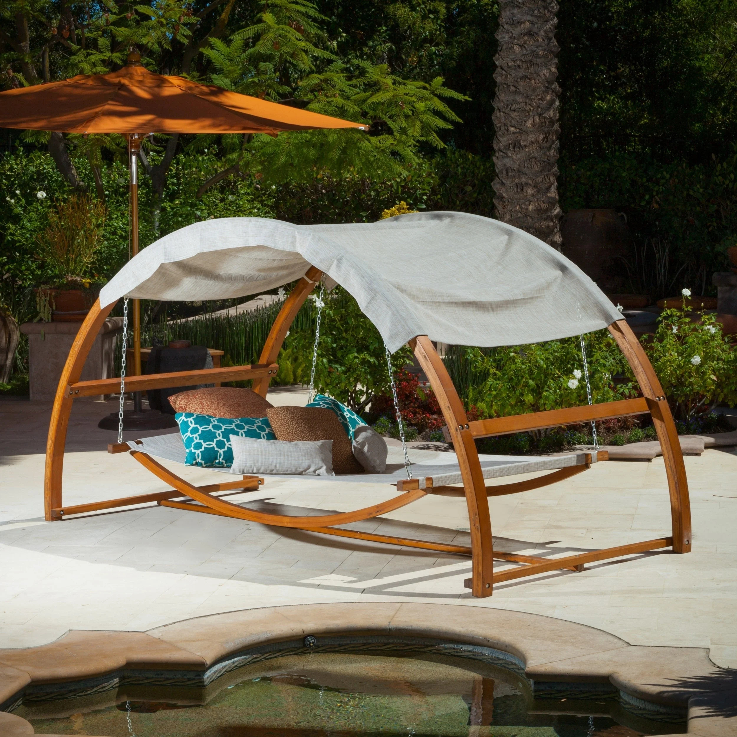 Outdoor Hanging Swing Bed For Porch, Deck, Or Yard With Overhead Canopy