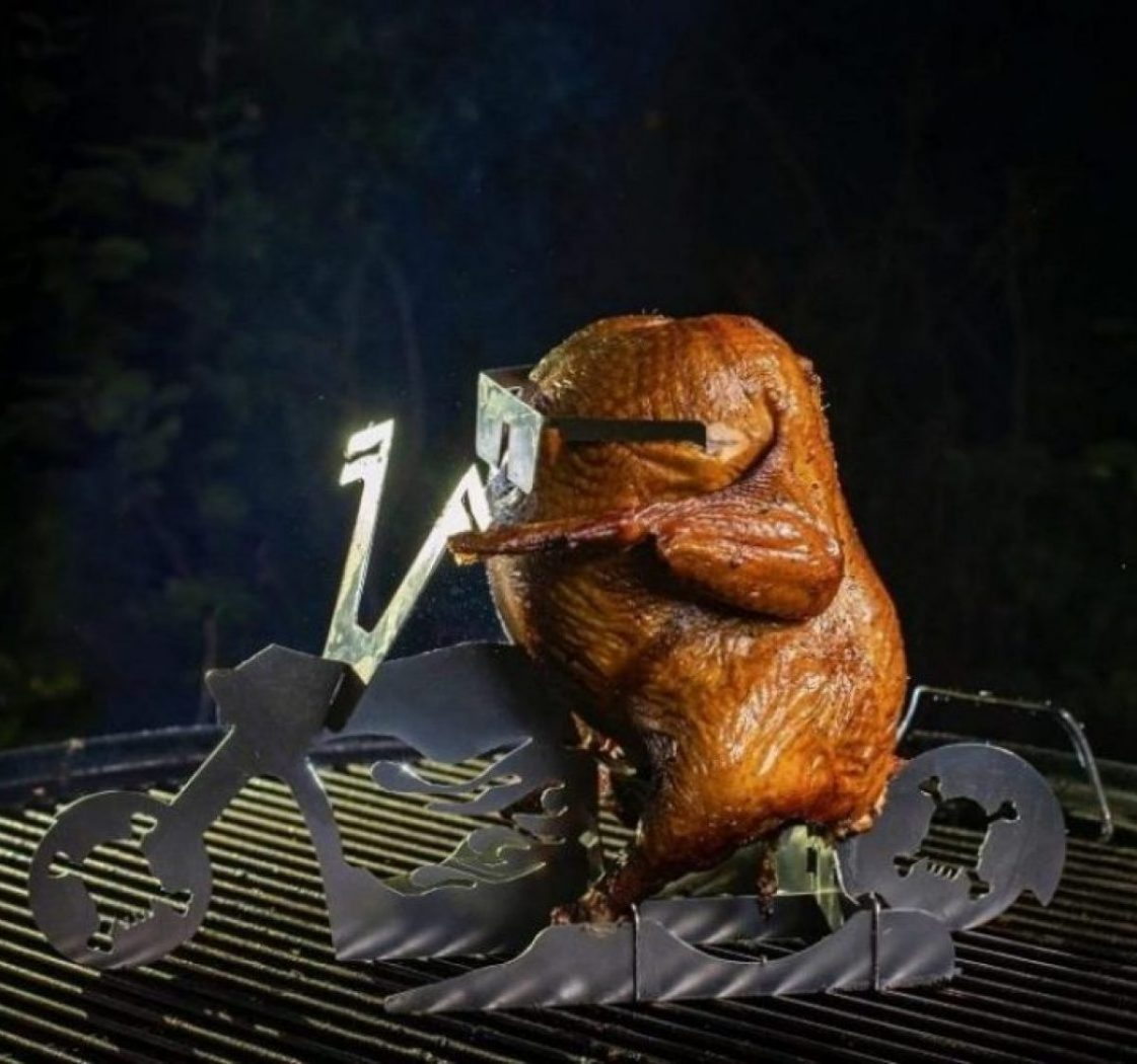 Flaming Biker Chick Motorycle Beer Can Chicken Stand for Bikers